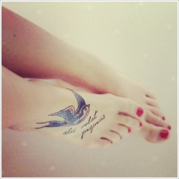 Swallow Tattoo Designs on Foot for Women Readmore http://tattoosclick.com/swallow-tattoo-designs