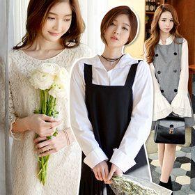 Gmarket - [DEEPNY] Deepny Long sleeve dress / lace / faux laye...