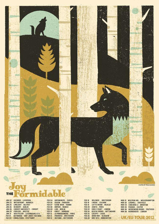 Tour poster for the Joy Formidable via Telegramme Studio