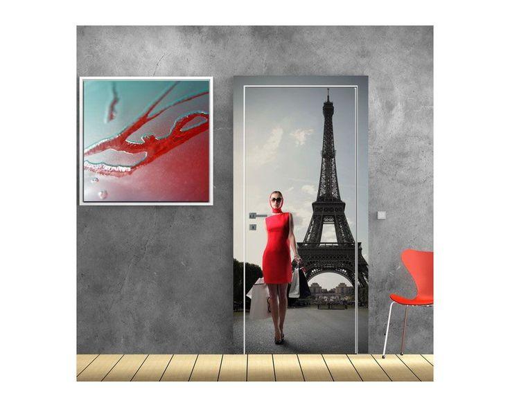 Lady in red at Paris, αυτοκόλλητο πόρτας , δείτε το!