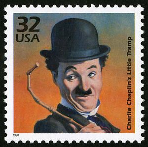 Charlie Chaplin, comic actor, composer and film director. Copyright United States Postal Service. All rights reserved.