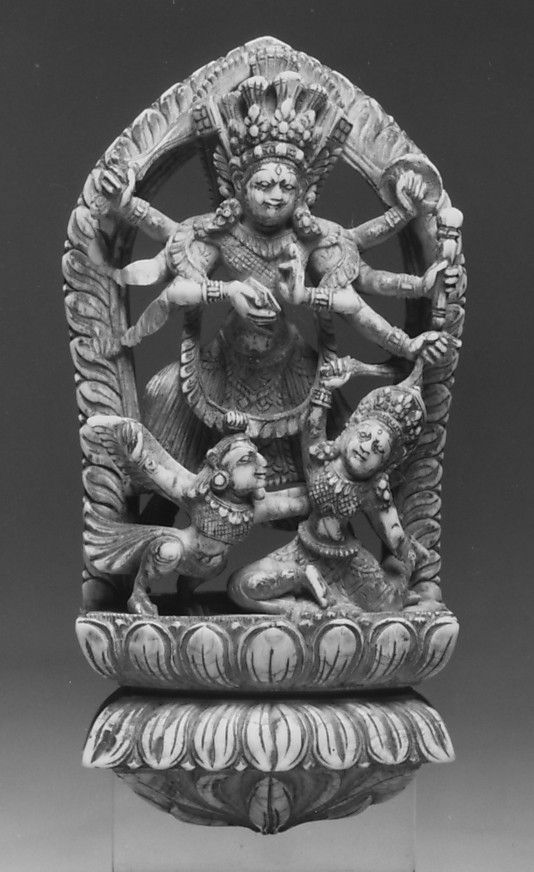 Wrathful Eight-Armed Goddess Slaying a Demon with the Help of Garuda. Nepal (Kathmandu Valley), 16th–17th century. Ivory, h. cm. 11.5. New York, The Metropolitan Museum.