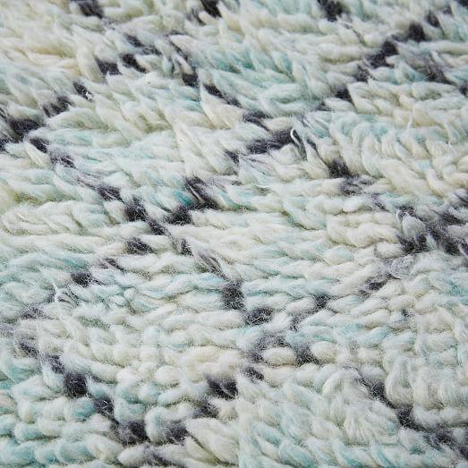 Watercolor Trellis Wool Shag Rug - Blue Teal   west elm