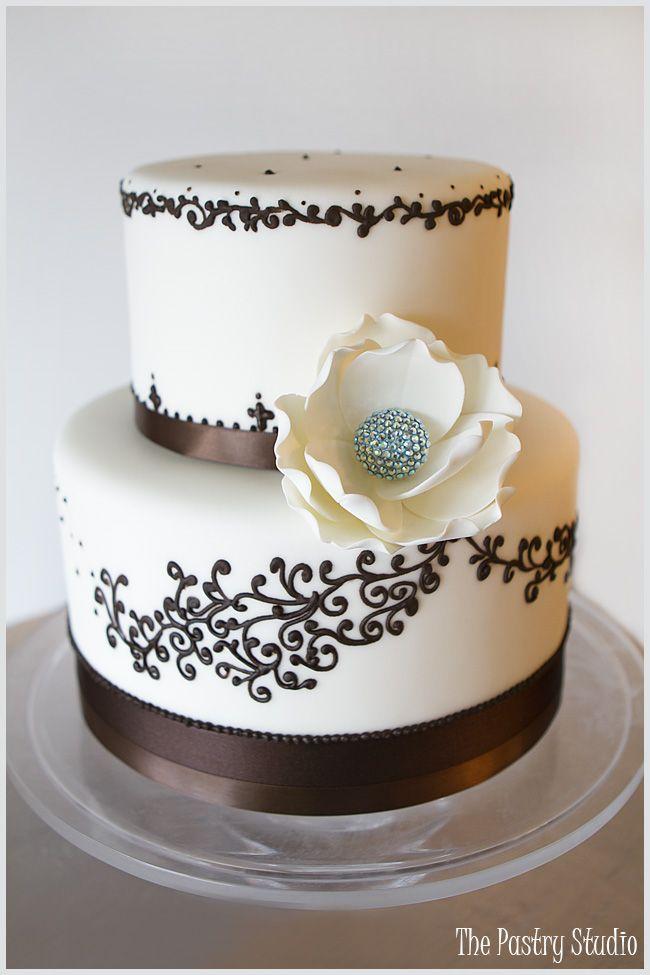 Wedding Cake featuring Swarovski Crystal Sugar-Paste Floral in Aqua + Chocolate Brown Accents