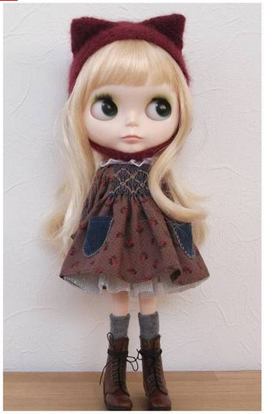 blythe outfit :::猫耳帽子とお洋服set:::_画像