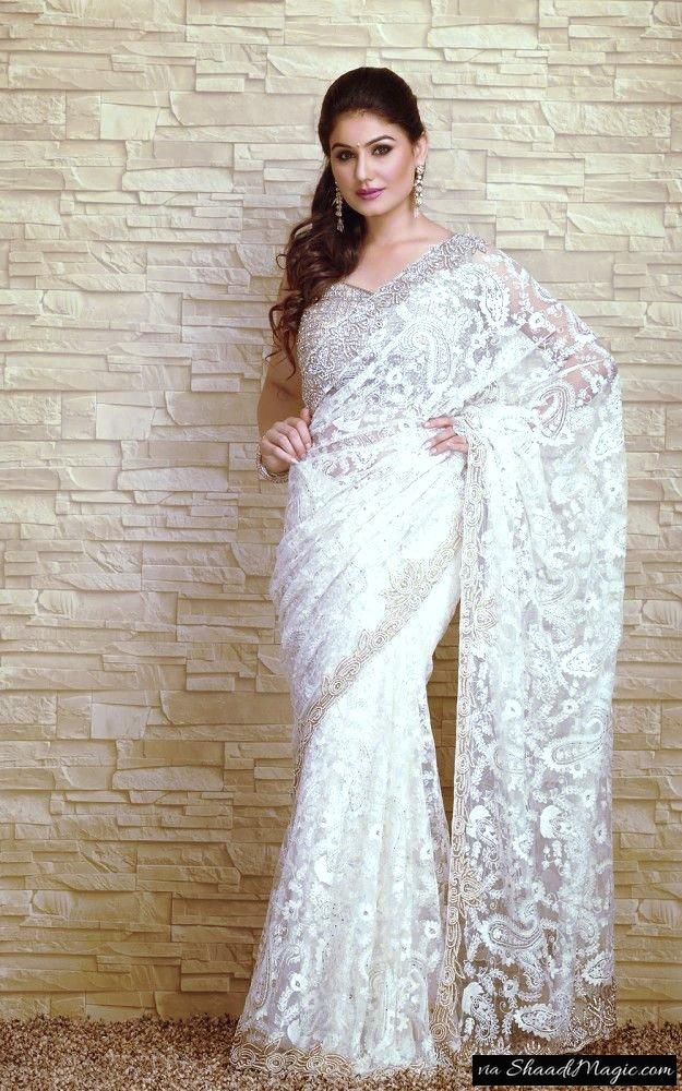 Bridal Embroidery Lace Saree Saree is the only wearable outfit in India that shapes your body from top to bottom. Some mischievous and naughty girls like to flaunt their back with the deep blouse and beautiful waistline, oops!