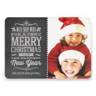 Cute Christmas Chalkboard Photo Template Card