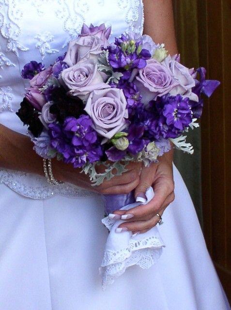 Lavender roses, purple stock, deep purple lisianthus and ...