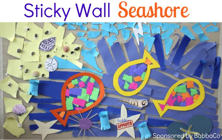 {Sticky Wall Seashore Project} The sea urchin is lovely! #Ocean #UnderTheSea: Fun Activities, July Babbabox, Sticky Wall, Contact Paper, Seashore July, Toddlers Approv, Ocean Themed, Wall Seashore, Babbabox Activities
