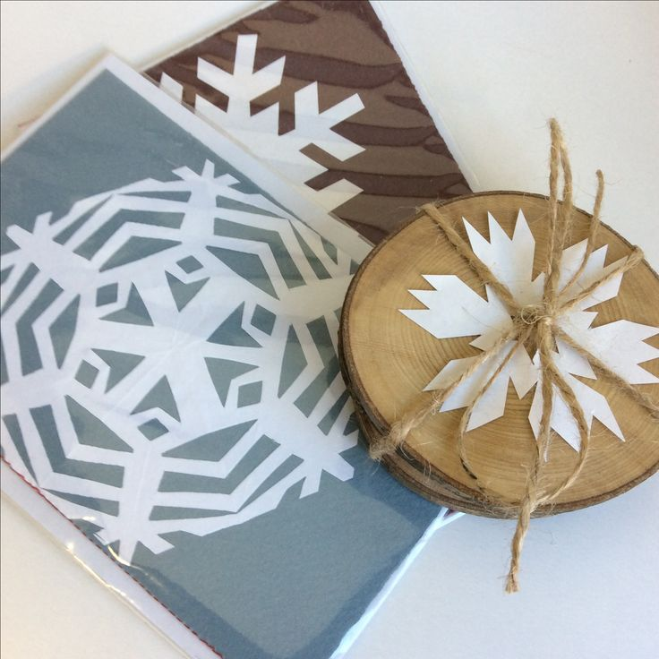Hand made wooden coasters.....off the wood pile. Christmas cards, hand cut snowflakes, hand sewn, lovingly hand made by @Jane H. Restoration