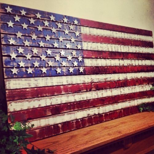 Distressed, Rustic Wooden American Flag #RusticPrimitive