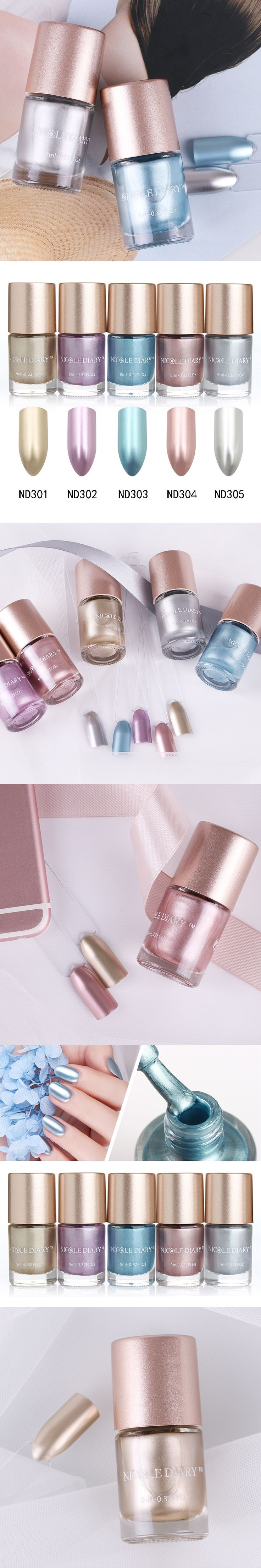 NICOLE DIARY Metallic Nail Polish Mirror Effect Lacquer Varnish Shiny Metal 5 Colors Rose Gold Spray Nagellak Vernis A Ongle
