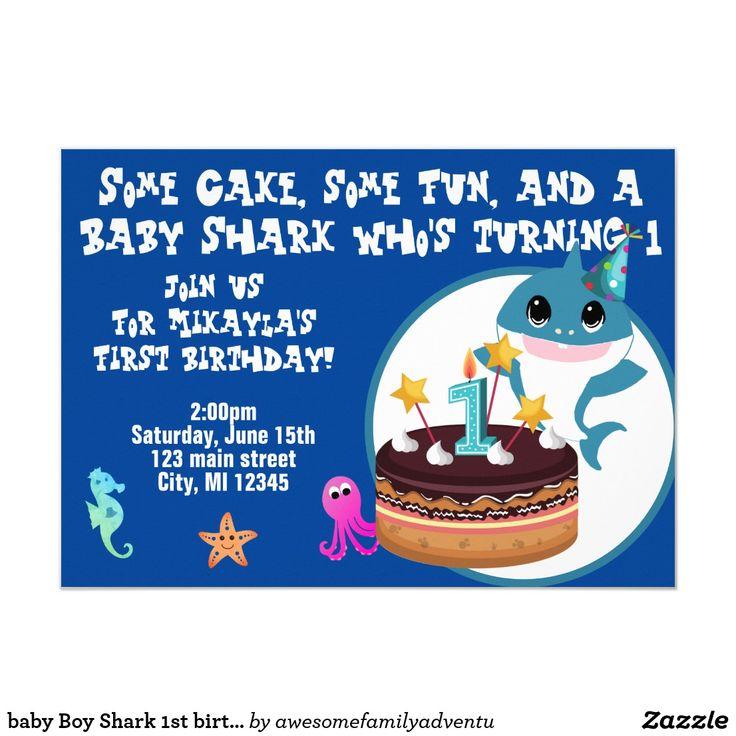 baby Boy Shark 1st birthday Invitation 1st