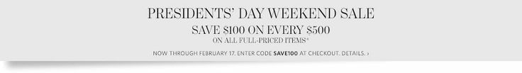 Presidents' Day Weekend Sale - Save $100 on Every $500