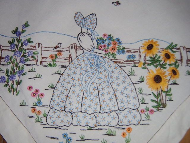Embroidered linen tablecloth, crinoline lady, sunflowers & birds