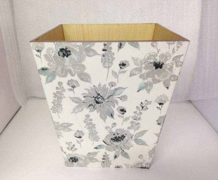 Silver Flowers  Waste Paper Bin Trash Can Handmade Wooden by crackpotscrafts on Etsy