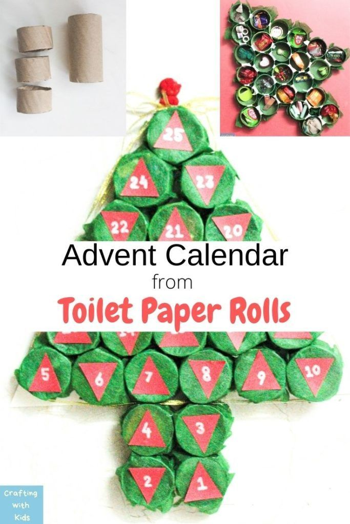 Advent Calendar Christmas Tree From A Toilet Paper Or Paper Towel Roll In 2020 Paper Towel Roll Crafts Holiday Crafts Diy Paper Roll Crafts