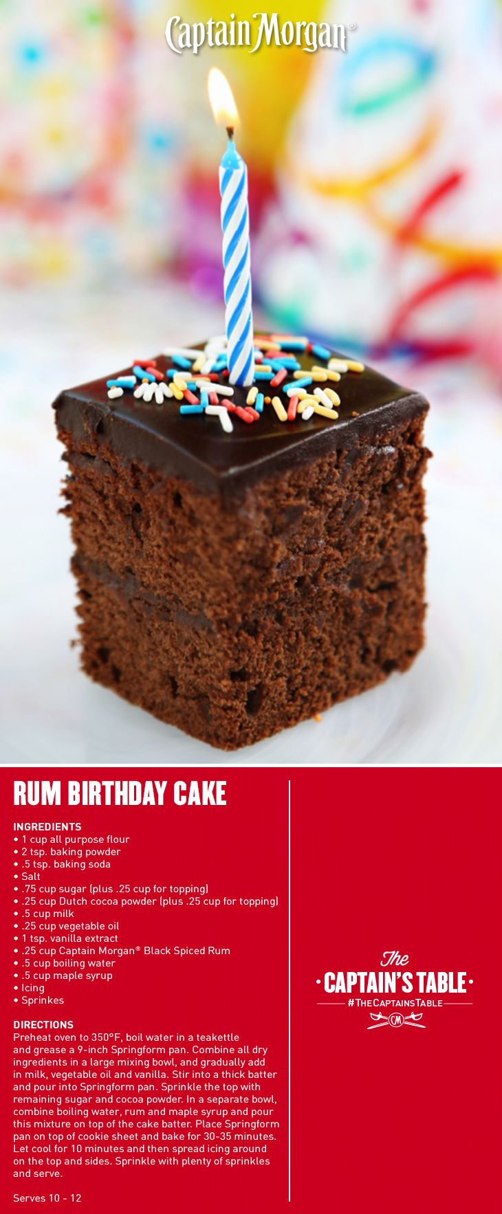 A birthday cake recipe with the best present baked right inside! #Captain #Morgan #rum #CaptainsTable
