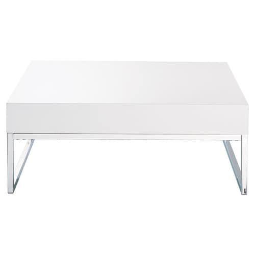 Wit gelakte houten en verchroomd metalen salontafel B 80 cm