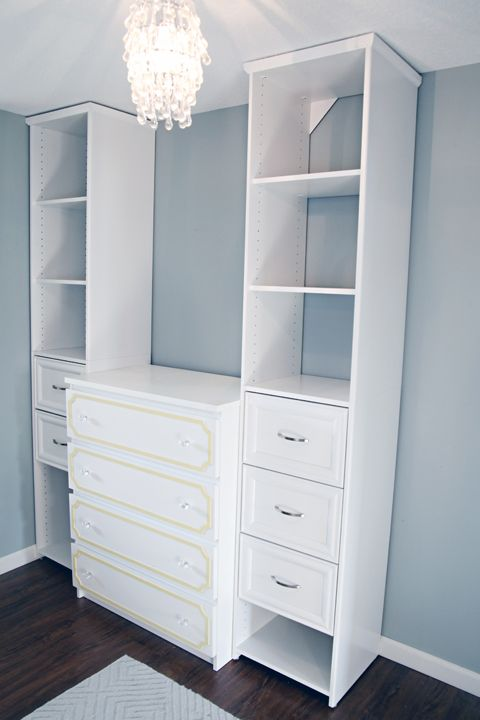 Closetmaid Storage Towers, Customized For The Space With Drawers And  Moulding. Closet Nook ...