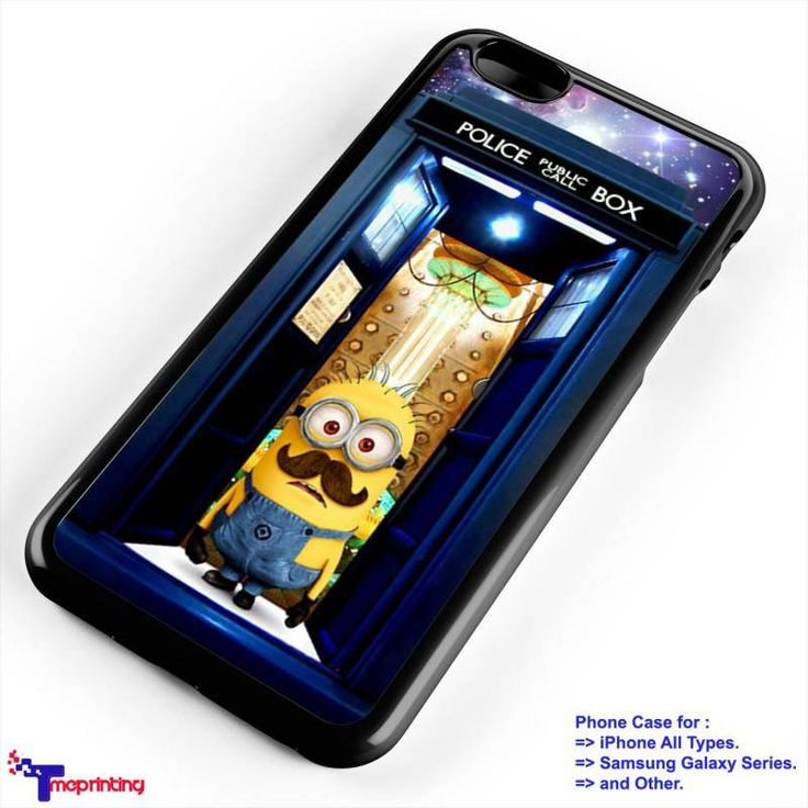police box tardis doctor who minions mustache - Personalized iPhone 7 Case, iPhone 6/6S Plus, 5 5S SE, 7S Plus, Samsung Galaxy S5 S6 S7 S8 Case, and Other