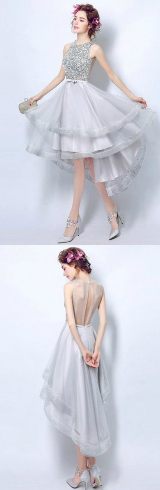 Elegant A-line High Neck High Low Tulle Formal Dress Homecoming Dress Prom Dress With Sequins