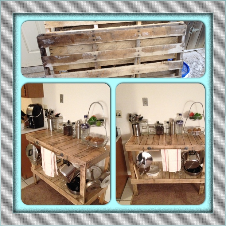 Pallet kitchen table before and after pallets fun with for Pallet kitchen bench