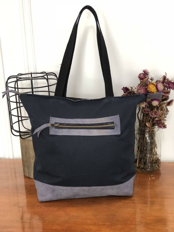 Wanderer Tote - Canvas Tote Bag, Leather Tote Bag, Navy Blue Canvas, Lavender Leather, Purple Leather, Zipper Tote, Lewis and Irene Lining