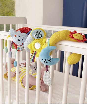 Keep your little one entertained in their cot, car seat or stroller with this fun Baby Sensory Say Hello activity spiral featuring fascinating patterns and textures, a squeaker and a rattle, plus adorable little characters. The activity spiral also features an adorable sunshine baby-safe mirror and a cute cloud teether that is nice for little ones to bite on to help soothe sore gums when teething.