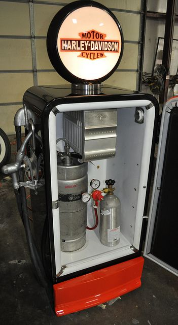 Gas Pump Style Vintage Refrigerator Kegerator. So want a gas pump kegerator.