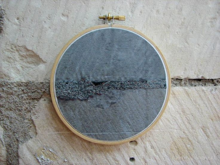 """Monica Bengoa - untitled Installation of seven hand-made embroideries on photographic transfer on cotton cloth 8,4 (3 embroideries); 11; 13,5; 19 y 21,2 cm. (3 embroideries 3""""; 4""""; 5""""; 7"""" and 8"""")"""