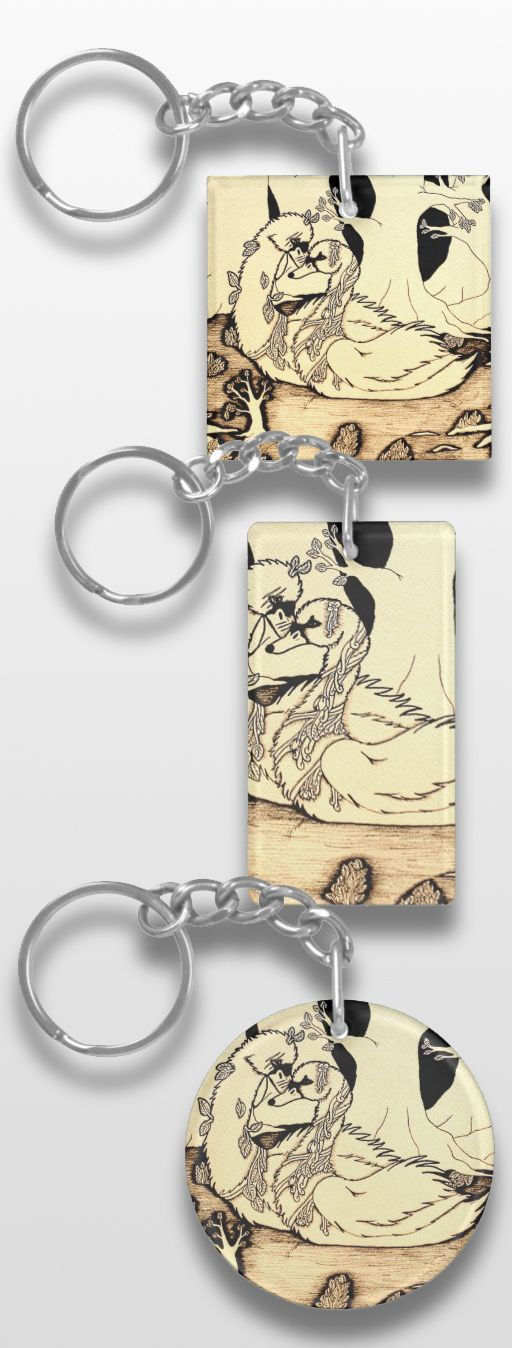 """""""Swan Couple"""" Black and White Illustrated Keychain #bird #products #gifts #art #illustration #sepia #cute #"""