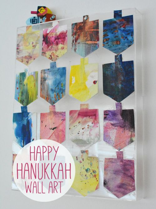 Hanukkah is right around the corner.  We are very excited about this in our house.  Recently, I came across a stack of Gigi's old paintings and thought the colors were so pretty, it might be fun to make something out of them.  We have piles and piles of art so I didn't feel bad cutting(...)