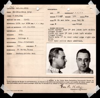 """George """"Machine Gun Kelly"""" Barnes' Alcatraz prison record. It's a mystery as to why he has a black-eye by the time of his prison mugshot."""