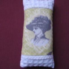 Sachet de lavande rétro 1900 en toile nid d'abeille blanche