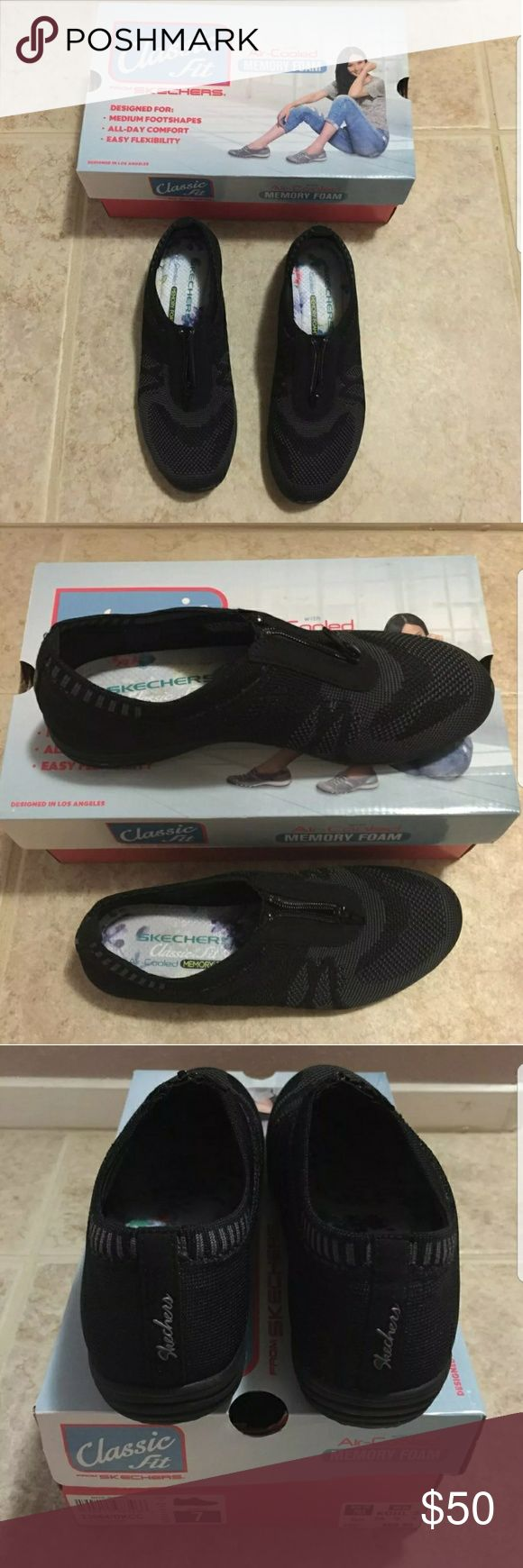 Skechers Classic Fit Brand new Comes with original box Size 7 Air cooled memory foam Black Zipper on top Skechers Shoes Flats & Loafers