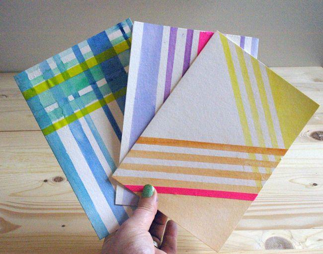 DIY watercolor striped cards http://www.thisisloveforever.com/2012/04/making-it-watercolor-striped-cards.html#