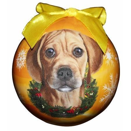 Puggle Christmas Ball Ornament | Dog christmas ornaments ...