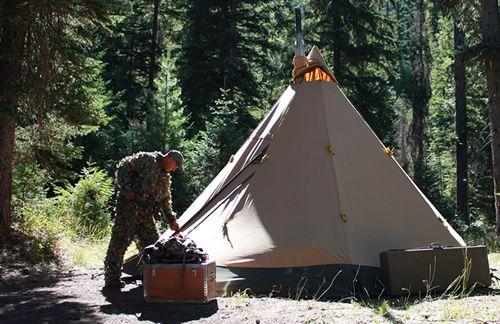 Hunter Entering Tentipi Tent After Morning Hunt Camping
