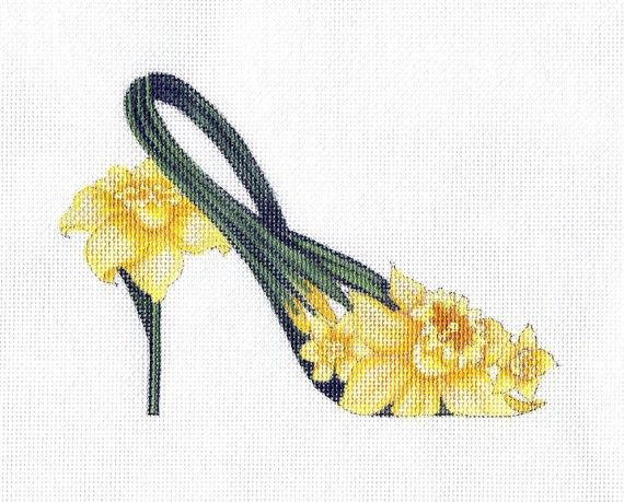 Beautifully hand painted Yellow Daffodil Slipper 6.5X5 on 18ct. Zweigart canvas. Collect them all for your slipper collection