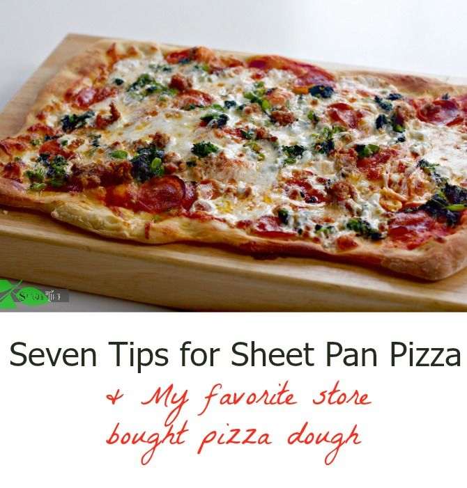Sheet pan pizza is easy with my favorite store bought pizza dough from Trader Joe's, with sausage and pepperoni, and broccoli rabe.