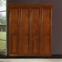 4 doors #woodenwardrobe, inside is divided in 2 parts by a flush door. Both of these parts have 1 shelf and a cloth hanger. cm 210x67, h 250 #countrywardrobe