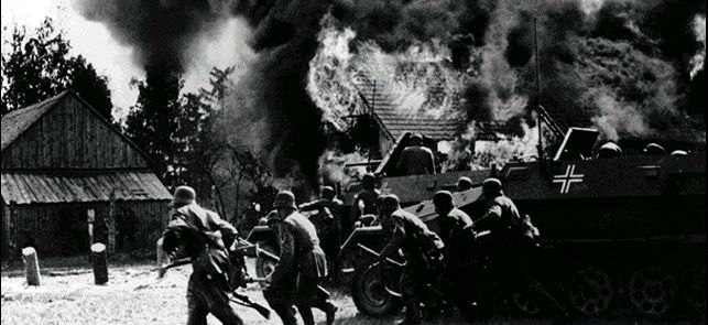"""Operation Weiss"": German troops invade Poland. German tanks thundered across the Polish border at precisely 0445 hours, supported by Junkers Ju87 (""Stuka"" named Sturzkampfflugzeug) dive-bombers.  Adolf Hitler was working on the new kind of warfare ""Blitzkrieg"", Lightning War that involved massive use of tanks, motorized infantry and airforce. Tactics of Blitzkrieg designed new role for tanks, spearheads for quick penetration of enemy territory."