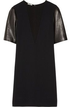 Leather-sleeved cady shift dress by Miu Miu