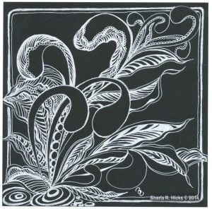 Mooka in Black 2 by Sharla R. Hicks, Certified Zentangle Teacher copyright 2014 Link has a using White Pen on black tiles Tutorial.  Worth the visit to review.