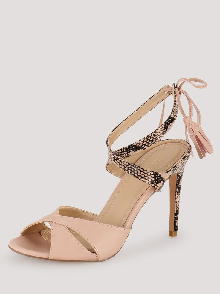 SOLE STORY Cross Strap Dual Texture Tie Up Sandals with Tassels