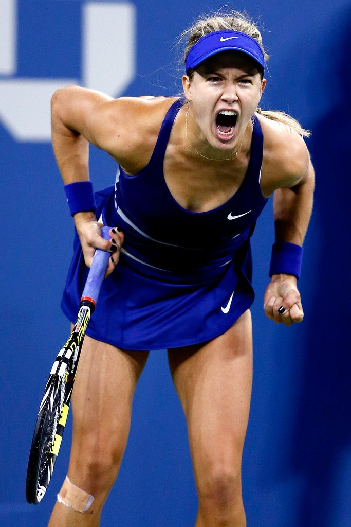 Eugenie Bouchard Photos: US Open: Day 4. Eugenie Bouchard of Canada celebrates match point against Sorana Cirstea of Romania on Day Four of the 2014 US Open at the USTA Billie Jean King National Tennis Center on August 28, 2014 in the Flushing neighborhood of the Queens borough of New York City.