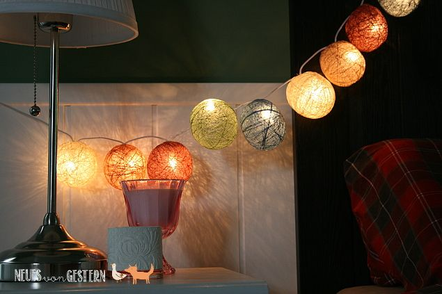 Lichterkette aus Garnkugeln 2