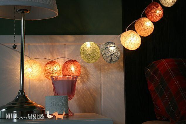 DIY Lichterkette aus Garnkugeln 2