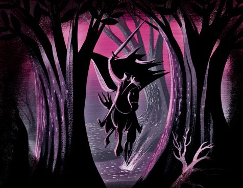 "Mary Blair - Headless Horseman Concept art, ""The Legend of Sleepy Hollow"", 1949."